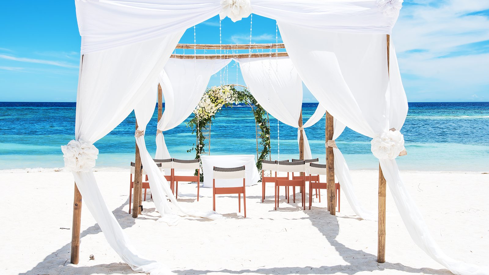 Tropical paradise beach wedding setting
